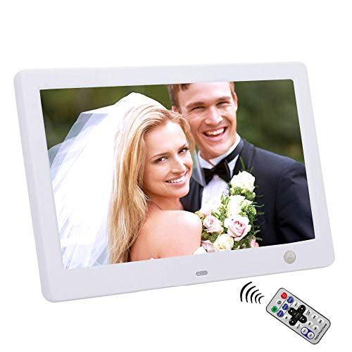 10' Widescreen Hi-Res Digital Photo & HD Video Frame with Motion Sensor,Calendar/Clock/Function, MP3/Photo Player with Remote Control (White)