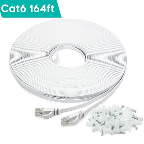41%2BCjR9qQ2L - 50m/164ft Flat Ethernet Cable, CAT.6 164ft Network Cable (RJ45) | High Speed 10/100/1000Mbit/s | Patch cable | UTP | compatible with CAT.5 / CAT.5e / CAT.7 |