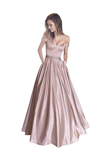 9c773e0090f1 Harsuccting Off The Shoulder Beaded Satin Evening Prom Dress With ...