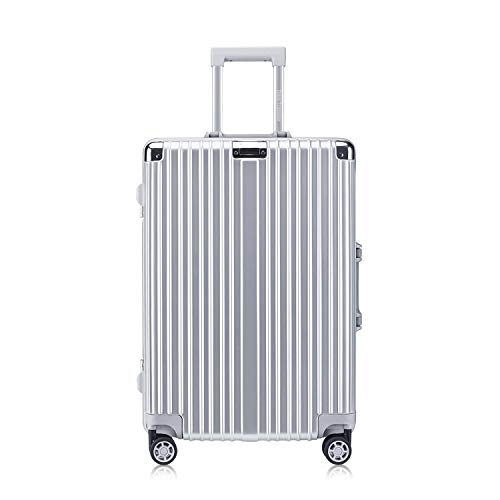 Carry-On Foveate Hardside Aluminum Frame Luggage, 20' Suitcase with Great Intensity, Scratch-Resistant, Silver