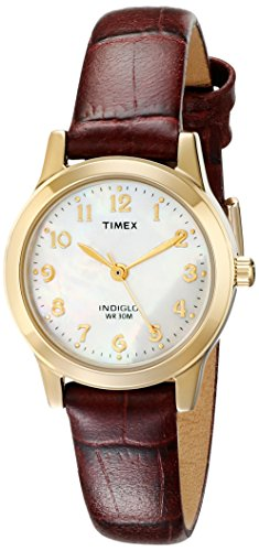 41%2BGnALD2TL Indiglo® Night-Light Mother of Pearl Dial Genuine Leather Strap