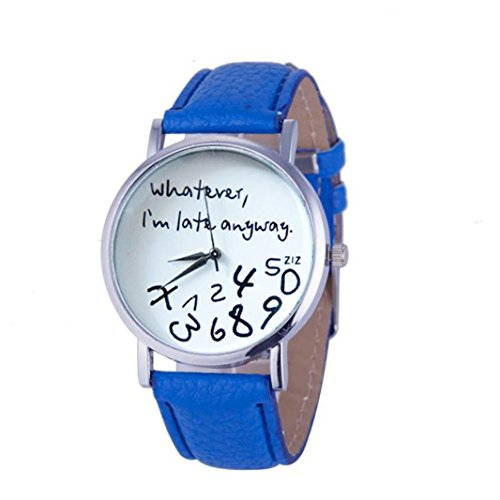 Oliviavan, 1PC Hot Women Leather Watch Whatever I am Late Anyway Letter Watches Black Sample low-key style (Blue)