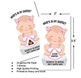 Girl -What's In My Diaper Baby Shower Scratch Off Game | 24 Cards - 1 Winner | Baby Shower Games | Baby Shower Prizes | Door Prizes | Baby Shower Decorations Girl | Diaper Party | Dirty Diaper Game