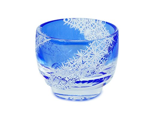 Ohba Glass Cut Glass 江戸切子 Edo Kiriko, Japanese Traditional Craft in Gift Box 光る宙 Milky Way (Ultramarine)