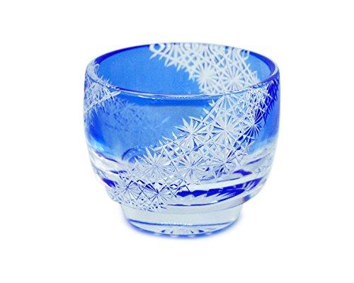 Ohba Glass Cut Glass 江戸切子 Edo Kiriko, Japanese Traditional Craft in Gift Box 光る宙 Milky Way (Ultramarine)