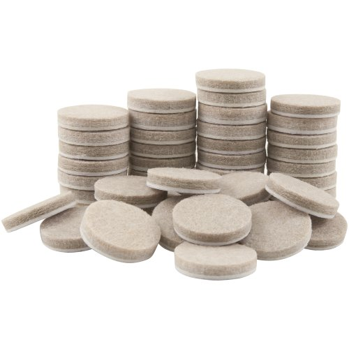 SoftTouch 4719095N Self-Stick Round Felt Pads Protect Hard Floors from Furniture Scratches 1 Inch, Linen (48 Pieces),