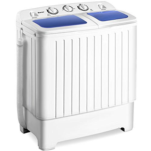 Giantex Portable Mini Compact Twin Tub Washing Machine 17.6lbs Washer Spain Spinner, Blue+ White