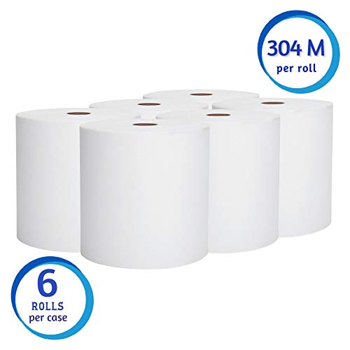 Scott Essential High Capacity Hard Roll Paper Towels (01005), White, 1000′ / Roll, 6 Paper Towel Rolls / Convenience Case