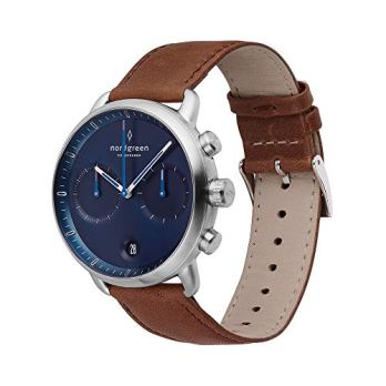 Nordgreen Pioneer Scandinavian Silver Men's 42mm Chronograph with Navy Dial and Brown Strap 14039