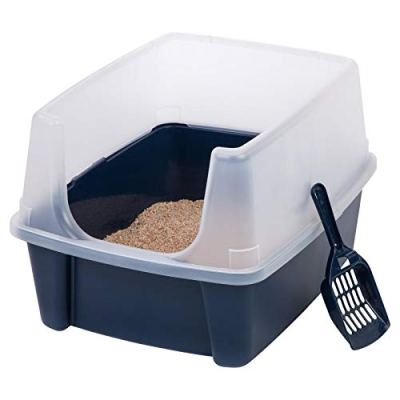 Open-Top Large Pet Cat Kitty Litter Box Pan with Shield Enclosure...