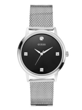 GUESS Men's Stainless Steel Diamond Black Dial Mesh Bracelet Watch, Color: Silver-Tone (Model: U0280G1)