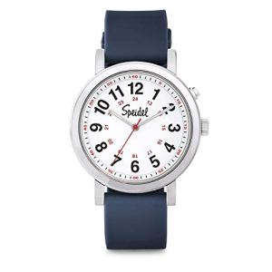 Speidel Scrub Glow Watch for Medical Professionals with Scrub Matching Navy Blue Silicone Band, Easy to Read Light Up Dial, Second Hand, Military Time for Nurses, Doctors, Students