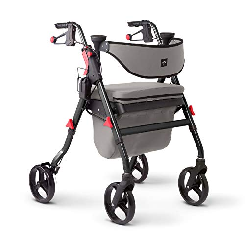 Medline Premium Empower Rollator Walker with Seat, Comfort Handles and Thick Backrest, Folding Walker for Seniors, Microban Antimicrobial Protection, 8' Wheels, Red Frame