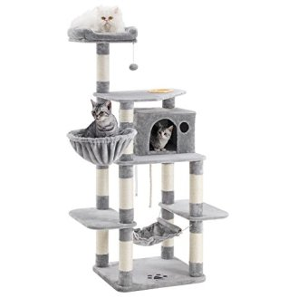 FEANDREA-685-Sturdy-Cat-Tree-with-Feeding-Bowl-Cat-Condos-with-Sisal-Poles-Hammock-and-Cave-Padded-Platform-Climbing-Tree-for-Cats-Extra-Large-Anti-toppling-Devices