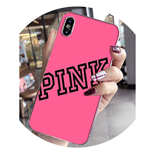 Youthern Pink Smart Cover Transparent Shell Phone Case for Phone 8 7 6 6S Plus X XS MAX 5 5S SE XR,Aa,Phone X or XS