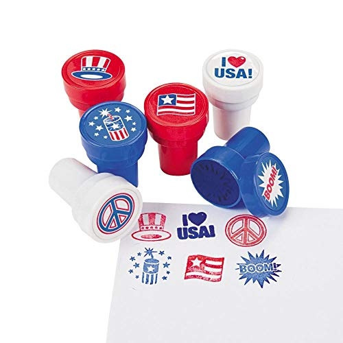 Fun Express 24 Piece Patriotic 4th of July Stamper Party Favor Supplies Assorted For Kids Arts and Crafts