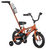 Schwinn Grit Steerable Kids Bike, Featuring Push Handle for Easy Steering, Training Wheels, Enclosed Chainguard, Quick-Adjust Seat, and 12-Inch Wheels, Orange/Black