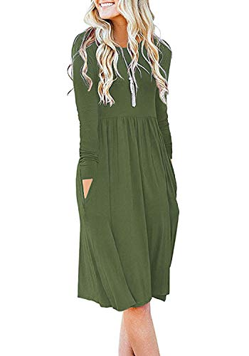 DB MOON Women Casual Long Sleeve Dresses Empire Waist Loose Dress with Pockets