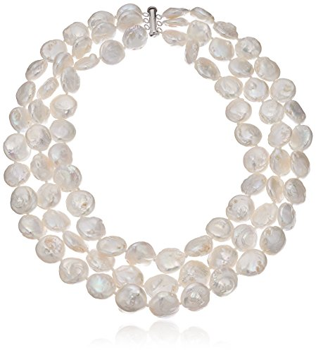 41%2BaFKSQ 6L 16-inches 3-rows necklace crafted from strands of freshwater cultured pearls in semi-coin shape The pearls are individually hand-knotted to improves longevity of the necklace by ensuring the strand doesn't break easily The natural properties and process of pearl formation define the unique beauty of each pearl.