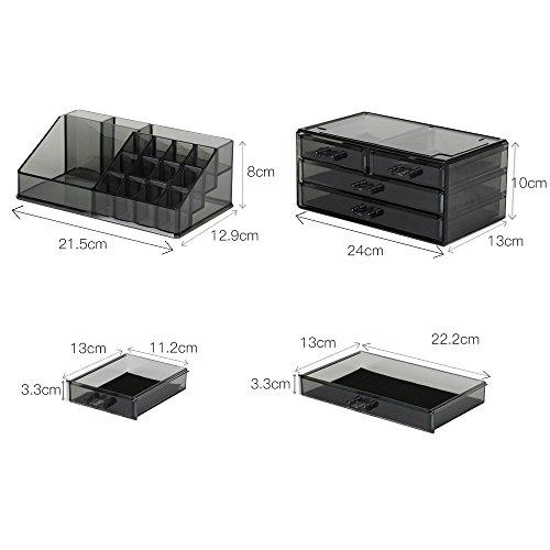 59332aded ... Caja acrílica Estante de maquillajes Maquillaje Cosméticos Joyería  Organizador (4 Drawers Clear C) (Gris humo). 🔍. 1; 2