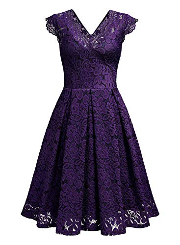 MISSMAY Women's Vintage Floral Lace Short Sleeve V Neck Cocktail Formal Swing Dress 2 Fashion Online Shop gifts for her gifts for him womens full figure