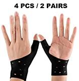 4 Breathable Gel Wrist & Thumb Support Braces for Right & Left Hand |Relief Pain for Carpal Tunnel, Rheumatism, Tendonitis, Waterproof, Great for Typing, Yoga, Pilates, Golf (All Sizes) (Black)