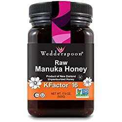 Wedderspoon Raw Premium Manuka Honey KFactor 16+, 17.6 Ounce