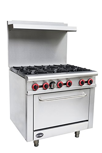 Heavy Duty Commercial 36' Gas 6 Burner Range with Oven (211,000 BTU/hr Total Input)