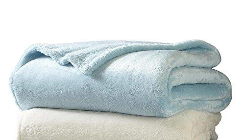 Sunbeam Luxurious Velvet Plush KING Heated Blanket with 20 Heat Settings, Auto-off, 2-Digital Controllers, 5 Yr Warranty (Surf Blue)