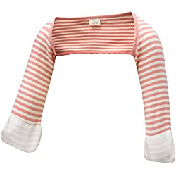 ScratchSleeves | Baby Girls' Stay-On Scratch Mitts Stripes | Pink and Cream | 6 to 9 Months