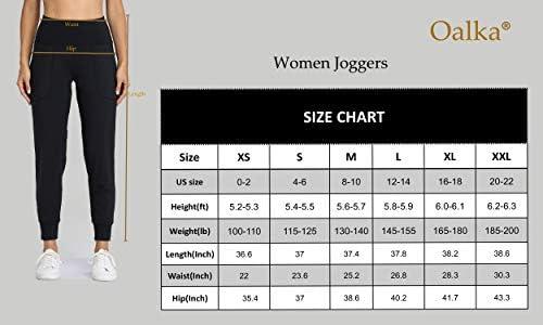 Oalka Women's Joggers High Waist Yoga Pockets Sweatpants Sport Workout Pants 7