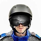 ROGSFN Anti-Fog ski Goggles for Men Womens & Youth Skiing Frameless Over Mirrored Glasses Helmet Compatible UV Protection,Cool Winter Sport Snowboard Goggles-Black Frame Black Lens