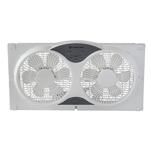 Comfort Zone Twin Window Fan with Remote   3 Speed, High Velocity, Dual  Blade Fans