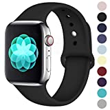 ilopee Sweat-Proof Sport Band Compatible with Apple Watch 42mm 44mm Series 4 3 2 1, Black, S/M