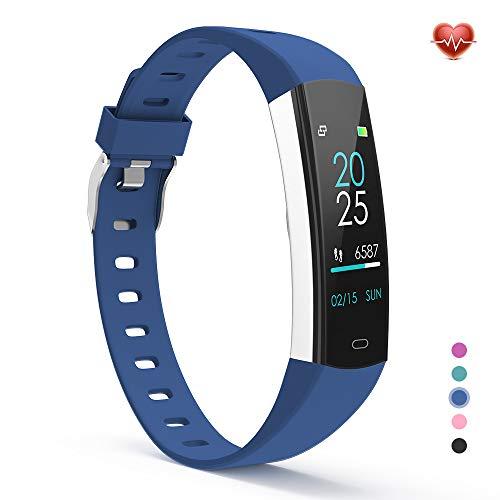 YoYoFit Slim Kids Fitness Tracker Heart Rate Monitor Watch, Kids Activity Tracker Waterproof Pedometer Watch, Digital Kids Alarm Clock Step Calorie Sleep Health Tracker as Best Fitness Gift (Blue)