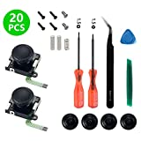 Onyehn 2-Pack 3D Replacement Joystick Analog Thumbstick for Switch Joy-Con Controller - Include Tri-Wing, Cross Screwdriver, Pry Tools, Spring and Screws Kit