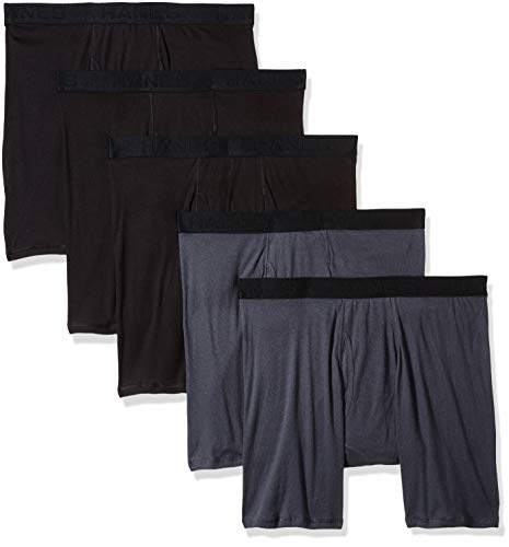 Hanes Ultimate Men's 5-Pack Boxer Brief-Colors May Vary, Black/Grey, Medium