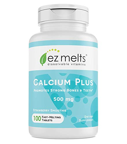 EZ Melts Calcium Plus with Vegan D3 and Magnesium, 500 mg, Sublingual Vitamins, Vegan, Zero Sugar, Natural Strawberry Flavor, 100 Fast Dissolve Tablets