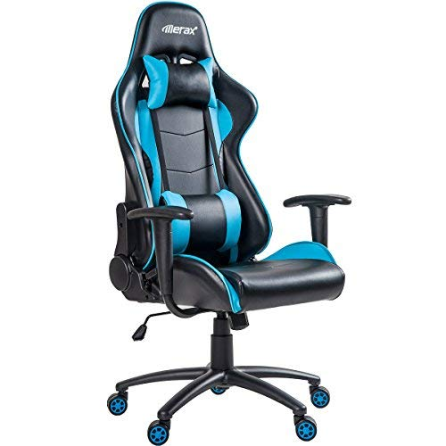 Merax Gaming Racing Style High Back PU Leather Ergonomic Swivel Chair with Lumbar Support and Headrest (Blue)