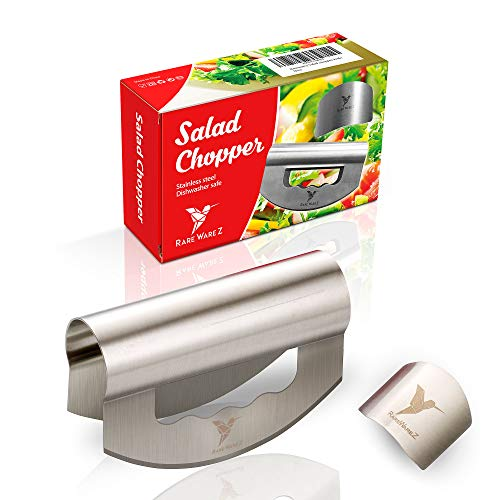 Salad Chopper Knife with Double Blade - Stainless Steel Sharp Mezzaluna Cutter and Mincer for Home Kitchen - Multipurpose Herb Crescent Rocking Hand Slicer for Easy Vegetable Mincing