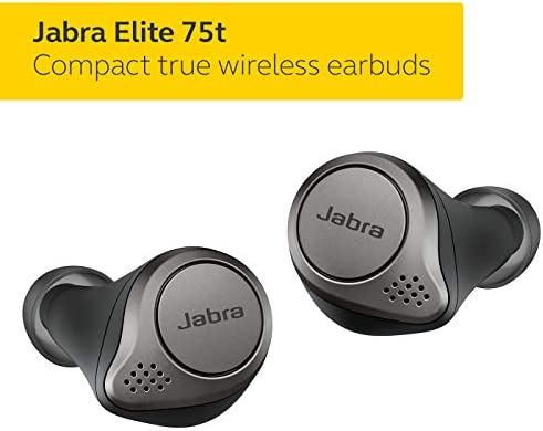 Jabra Elite 75t Earbuds – Alexa Enabled, True Wireless Earbuds with Charging Case, Titanium Black – Bluetooth Earbuds with a More Comfortable, Secure Fit, Long Battery Life and Great Sound Quality