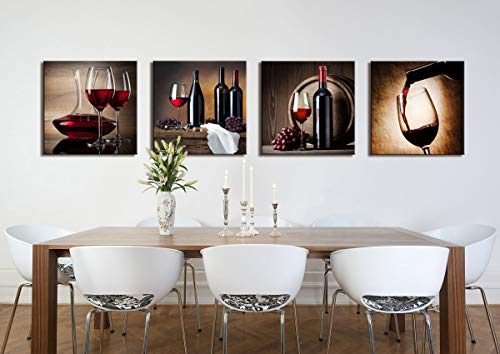 Large Canvas Wall Art Red Wine Cups Hd Pictures For Dining Room Decor 4 Panels Framed