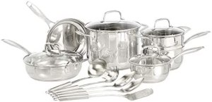 AmazonBasics Stainless Steel 15-Piece Cookware Set – Pots, Pans and Utensils
