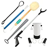 Vive 6 Piece Hip and Knee Replacement Kit - Surgery Recovery Set - Handicap Aid Package, Leg Loop Lifter, Reacher Grabber, Long Handle Shoe Horn, Shower Loofah Scrubber, Sock Assist, Dressing Stick