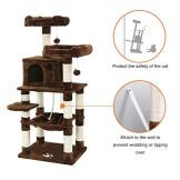 FEANDREA-58-Multi-Level-Cat-Tree-with-Sisal-Covered-Scratching-Posts-Plush-Perches-Hammock-and-Condo-Cat-Tower-Furniture-for-Kittens-Cats-and-Pets