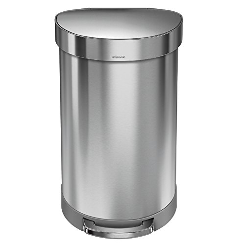 simplehuman 45 Liter / 12 Gallon Stainless Steel Semi-Round Kitchen Step Trash Can with Liner Rim, Brushed Stainless Steel
