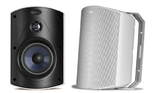 Polk Audio Atrium 6 Outdoor Speakers with Bass Reflex Enclosure (Pair, White) - All-Weather Durability   Broad Sound Coverage   Speed-Lock Mounting System