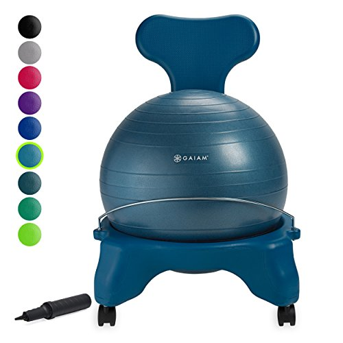 Gaiam Classic Balance Ball Chair – Exercise Stability Yoga Ball Premium Ergonomic Chair for Home and Office Desk with Air Pump, Exercise Guide and Satisfaction Guarantee, Ocean
