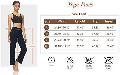 DIBAOLONG Womens Bootcut Yoga Pants Tummy Control with Pockets High Waist Long Workout Bootleg Leggings 4