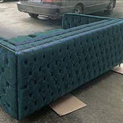 ACME Gillian Dark Teal Velvet Sofa with 3 Pillows